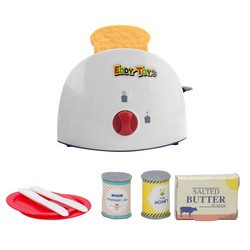 Jucarie toaster Eddy Toys, plastic, accesorii incluse, 3 ani+, Rosu/Alb 2021 shopu.ro