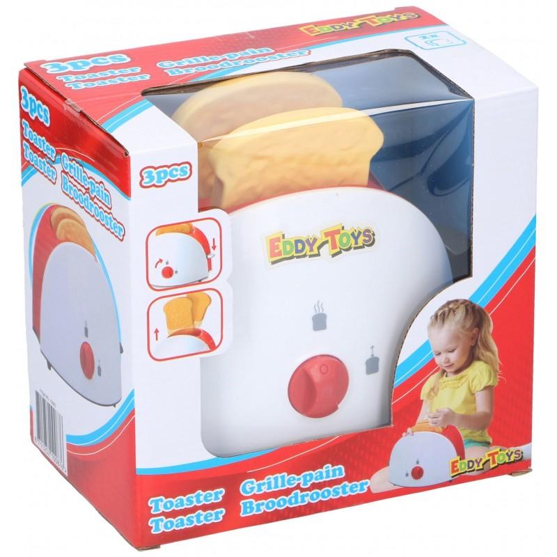 Jucarie toaster Eddy Toys, plastic, felii de paine incluse, 3 ani+, Rosu/Alb