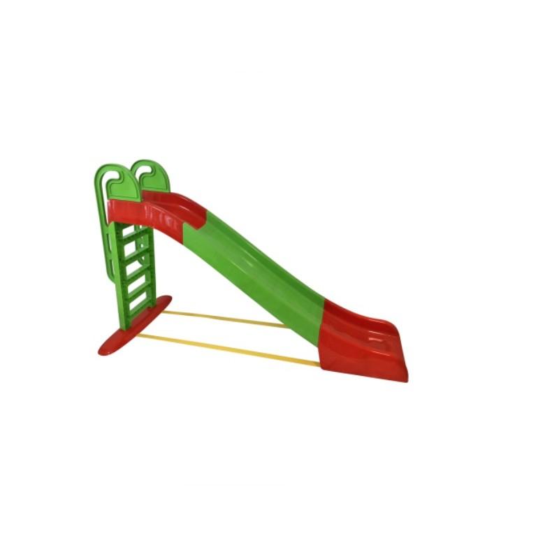 Tobogan Mykids, 243 x 114 x 240 cm, plastic, maxim 30 kg, 3 ani+, Verde/Rosu 2021 shopu.ro