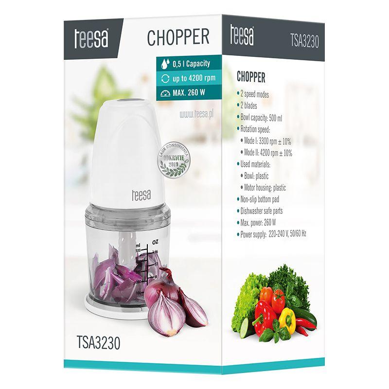 Tocator tip chopper Teesa, 260 W, 500 ml, 2 viteze, Alb