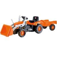 Vehicul Tractor cu remorca si cupa Dolu, pedale, volan, claxon, remorca
