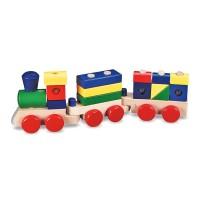 Trenulet din lemn de stivuit, 15 piese
