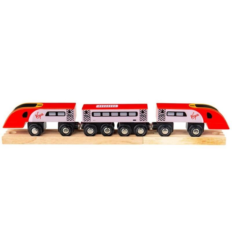 Trenulet Virgin Pendolino BigJigs, 33 x 4.5 x 3.5 cm, 3 ani+ 2021 shopu.ro