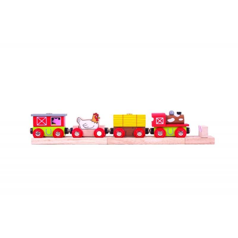 Trenuletul fermei vesele, locomotiva, 3 vagoane, 3 ani+