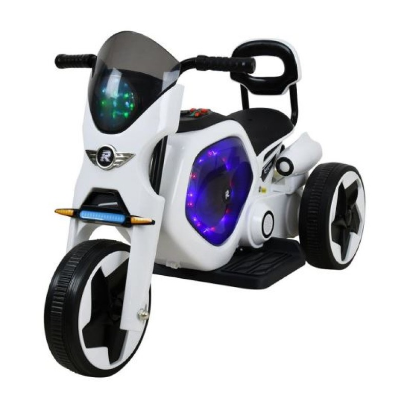 Tricicleta electrica DHS, 25 W, 4.5 Ah, roti poliuretan, maxim 25 kg, Alb/Negru 2021 shopu.ro