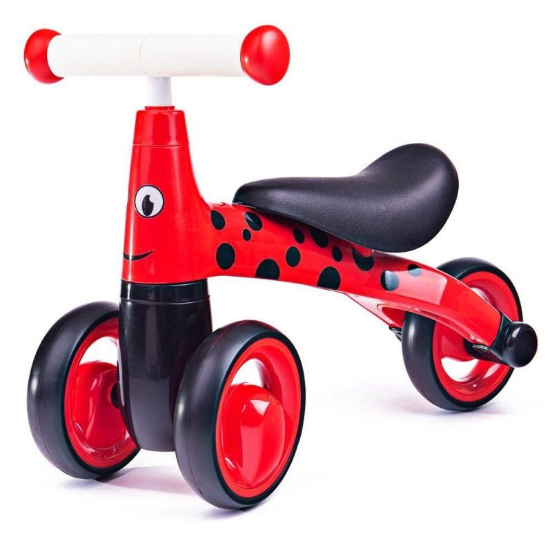 Tricicleta fara pedale Didicar, 24 x 51.5 x 18.5 cm, plastic, maxim 20 kg, 1-2 ani, model buburuza, Rosu/Negru 2021 shopu.ro