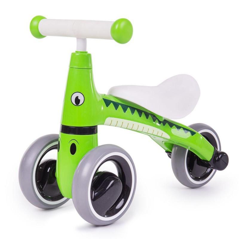 Tricicleta fara pedale Didicar, 24 x 51.5 x 18.5 cm, plastic, maxim 20 kg, 1-2 ani, model crocodil, Verde/Alb 2021 shopu.ro