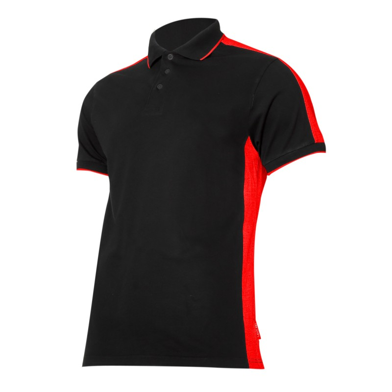 Tricou bumbac Polo Lahti Pro, marimea S, negru/rosu