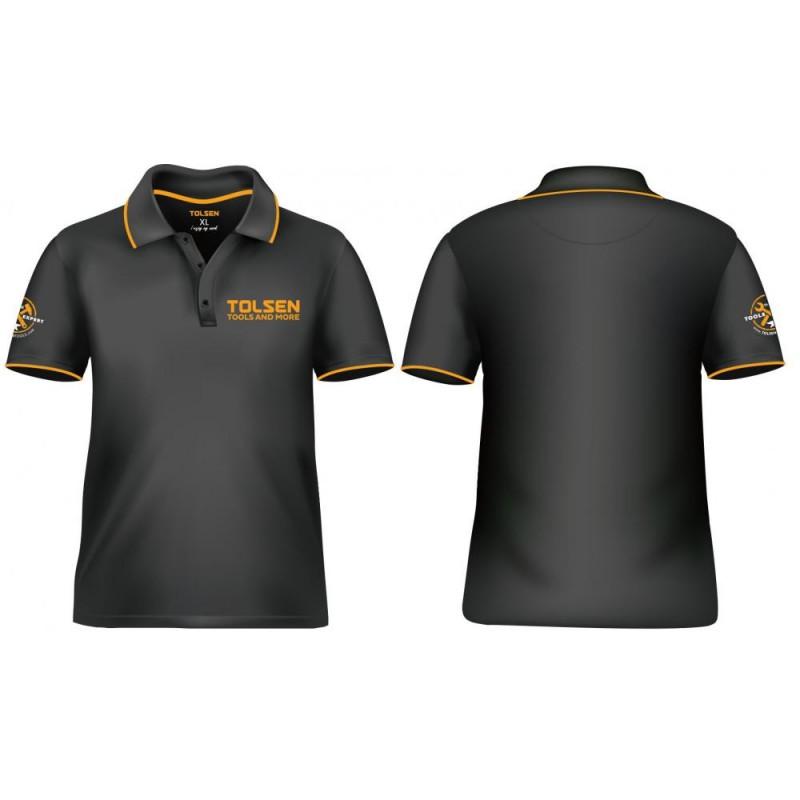 Tricou Tolsen, marime XL, Negru/Galben 2021 shopu.ro