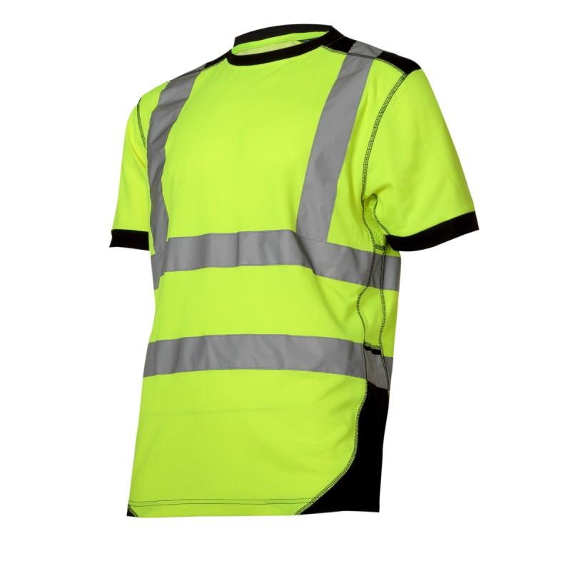 Tricou reflectorizant Lahti Pro, marimea XL, bumbac/poliester, clasa 2, Verde/Negru 2021 shopu.ro