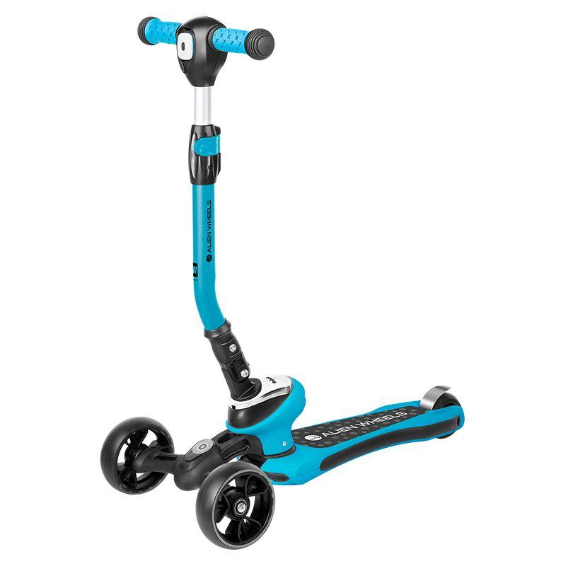 Trotineta cu 3 roti Alien Wheels Rebel, 620 x 305 x 800 mm, aluminiu, 3 setari pe inaltime, maxim 50 kg, 3 ani+, Albastru