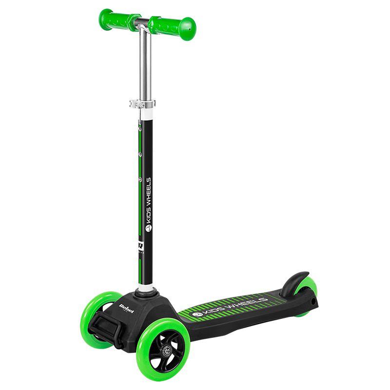 Trotineta Kid Wheels Rebel, 575 mm x 250 mm x 855 mm, ghidon reglabil, 3 ani+, Negru/Verde 2021 shopu.ro
