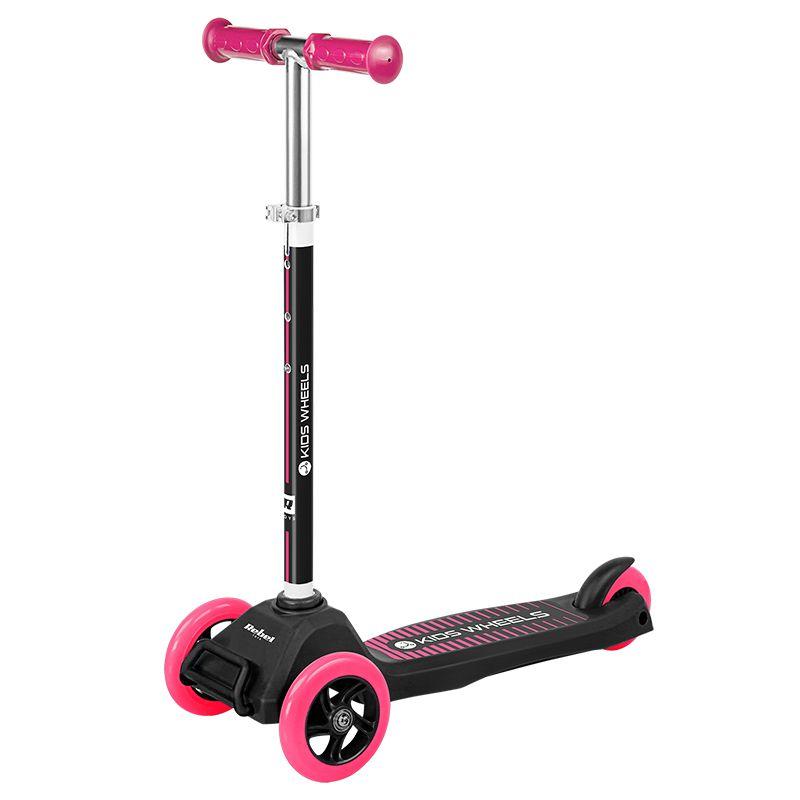 Trotineta Kid Wheels Rebel, 575 mm x 250 mm x 855 mm, ghidon reglabil, 3 ani+, Negru/Roz 2021 shopu.ro