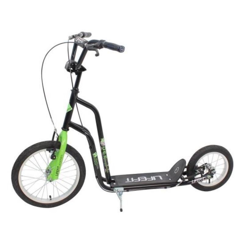 Trotineta Rider DHS, 16/12 inch, otel, ghidon ajustabil, maxim 120 kg, Negru/Verde 2021 shopu.ro