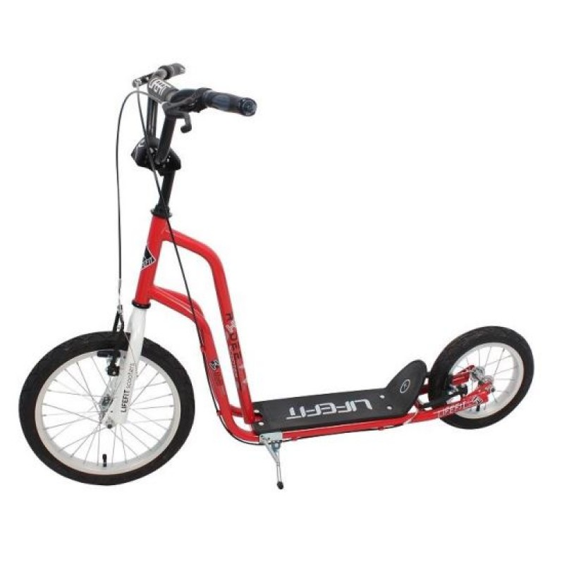 Trotineta Rider DHS, 16/12 inch, otel, ghidon ajustabil, maxim 120 kg, Alb/Rosu 2021 shopu.ro