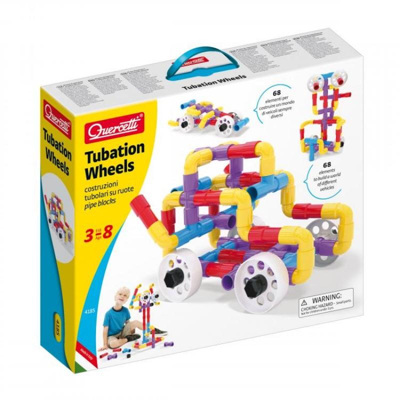 Joc de construit Tubation Wheels Quercetti, 20 piese, 3 ani+