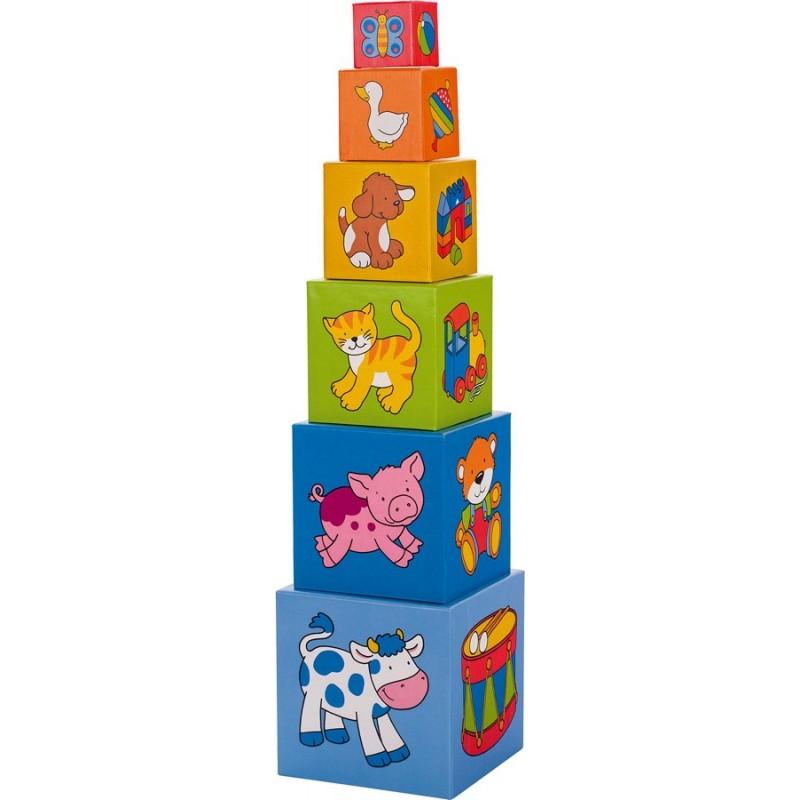 Joc de stivuit Turnulet din cuburi Goki, 57 cm, 6 piese, carton, 2 ani+, Multicolor