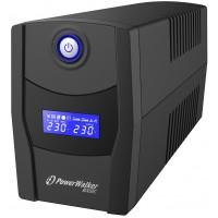 UPS line interactiv Powerwalker, afisaj LCD, 2 x Schuko, baterie 12 V / 7 Ah, 600 VA, 360 W