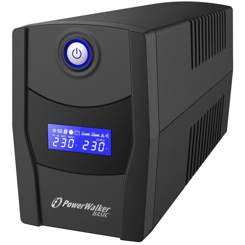 UPS line interactiv Powerwalker, afisaj LCD, 2 x Schuko, baterie 12 V / 7 Ah, 600 VA, 360 W shopu.ro
