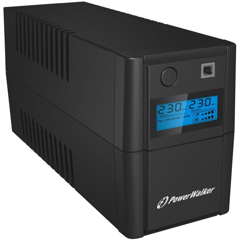 UPS PowerWalker line interactiv 650VA/360W, iesire 2 x Shuko, baterie 12V/7Ah shopu.ro