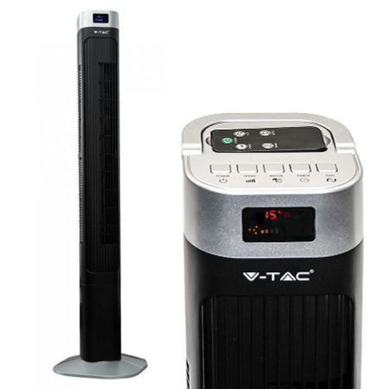 Ventilator tip turn, 55 W, 120 cm, 3 viteze, display, telecomanda, Negru 2021 shopu.ro