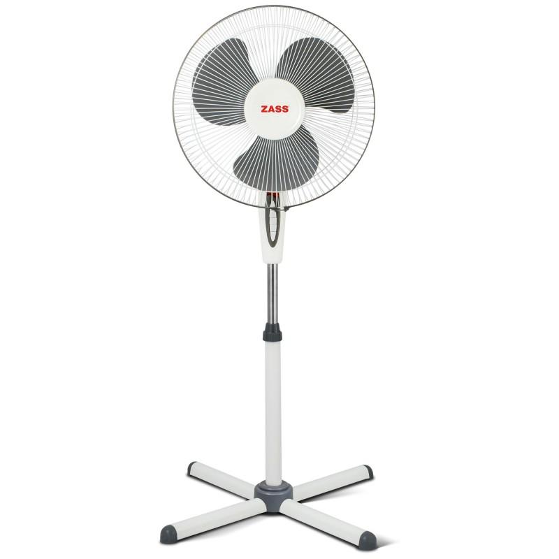 Ventilator cu picior Zass 45 W, 3 viteze, motor silentios, Alb 2021 shopu.ro