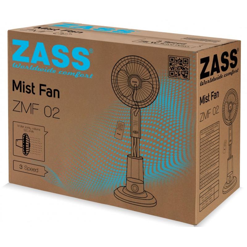 Ventilator cu pulverizare apa Zass, 320 ml/h, 75 W, rezervor 3.2 l, 3 viteze, telecomanda inclusa, Argintiu