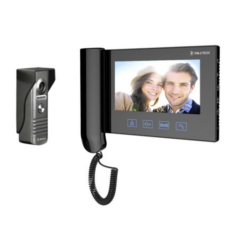 Videointerfon Cabletech, ecran LCD, 7 inch, 16 melodii, rezolutie CCD, 429 linii TV, cablu 15 m 2021 shopu.ro