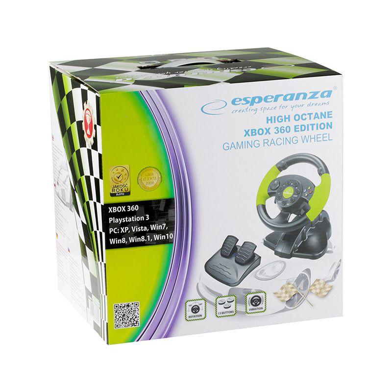 Volan cu pedale Gaming Esperanza, rotire 200 de grade, USB