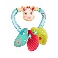 Inel pentru dentitie Vulli, plastic, 3 luni+, model inimioare