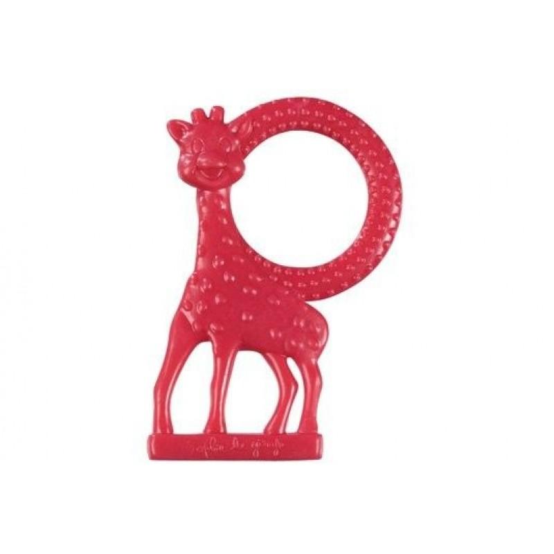 Inel pentru dentitie girafa Sophie Vulli, plastic, miros de vanilie, 3 luni+, Rosu 2021 shopu.ro