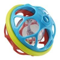 Jucarie pentru dentitie minge Vulli, 12 cm, 3 luni+, Multicolor