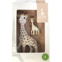 Jucarie pentru dentitie girafa Sophie Vulli, 17 cm, cauciuc, breloc inclus, 0 luni+