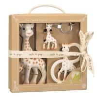 Set pentru dentitie girafa Sophie So Pure Vulli, 17 cm, cauciuc, breloc inclus, 0 luni+