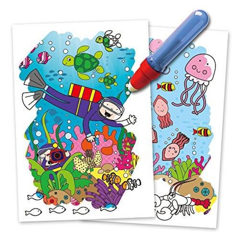 Carte de colorat Galt Lumea acvatica, 6 imagini reutilizabile