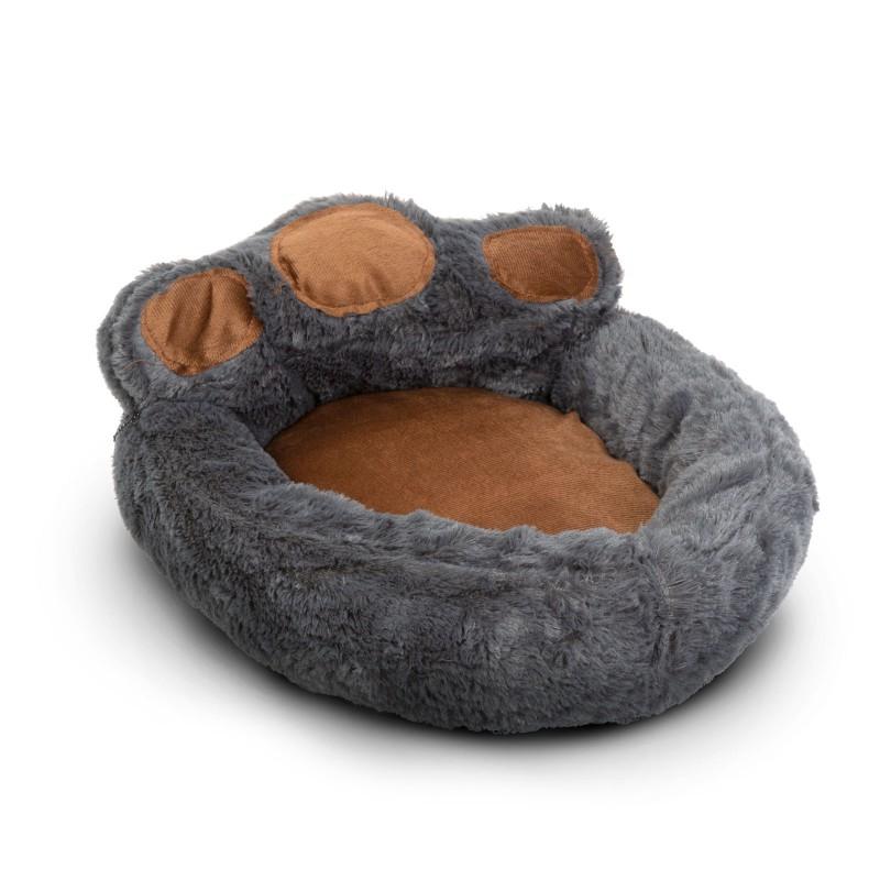 Culcus pentru catei Yummie, marimea L, 68 x 62 cm, bumbac, model labuta, Gri/Maro 2021 shopu.ro
