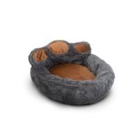Culcus pentru catei Yummie, marimea S, 40 x 45 cm, bumbac, model labuta, Gri/Maro