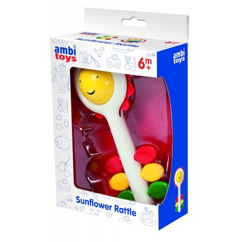 Zornaitoare pentru bebelusi Ambi Toys Soare, dezvolta dexteritatea, 17 cm 2021 shopu.ro